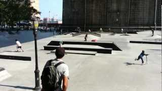 Skating under the Manhattan Bridge