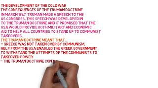 The Development of The Cold War, The Consequences of The Truman Doctrine