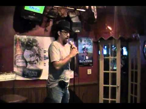 "Will O' doing some ""Ambush Karaoke"" at Bobalouie's Bar"