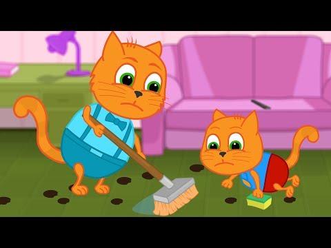 Familia de gatos - Piso sucio Dibujos animados para niños