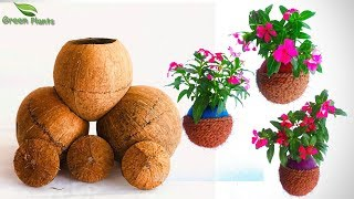 Flower Garden Idea-Hanging Flower Pots-String Garden Idea-Best out of waste Garden idea//GREEN PLANS