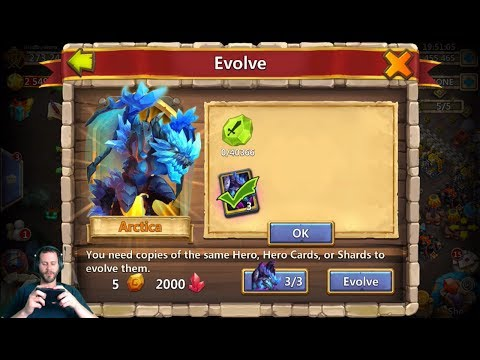 JT's Main Double Evolving Arctica Showing Stats Castle Clash