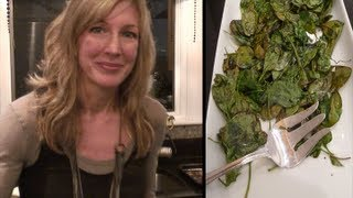 Healthy Recipe ~ Spinach Chips ~Snack or Side Dish