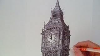 Dessiner Big Ben au stylo noir (Speed drawing)