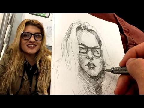 DRAWING LIVE PORTRAITS - NYC SUBWAY