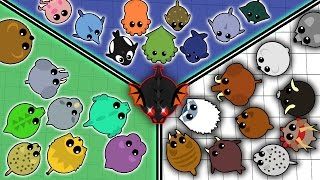 MOPE.IO ALL THE ANIMALS IN THE GAME UNTIL BLACK DRAGON!! (New Mope.io Update Animals Order)
