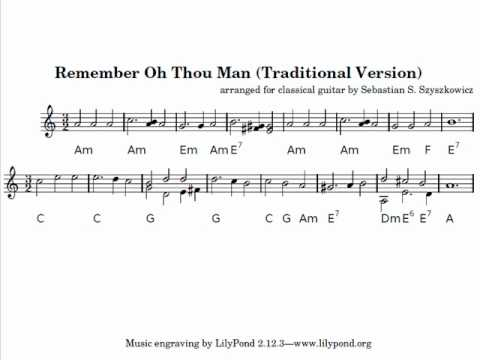 Remember Oh Thou Man Classical Guitar Instrumental Traditional