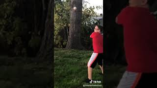 Slo motion clips me in the afternoon hitting a baseball in slo mow
