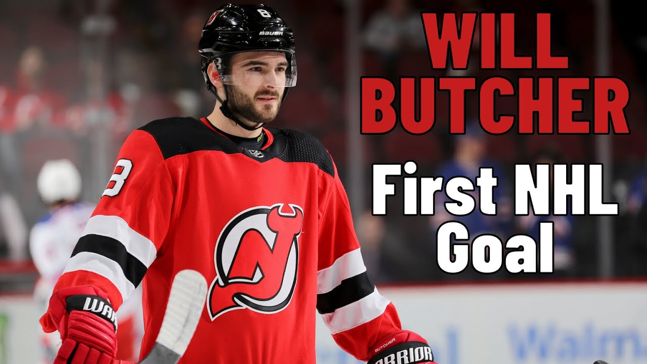 new style a7e85 19f62 Will Butcher #8 (New Jersey Devils) first NHL goal 18.11.2017
