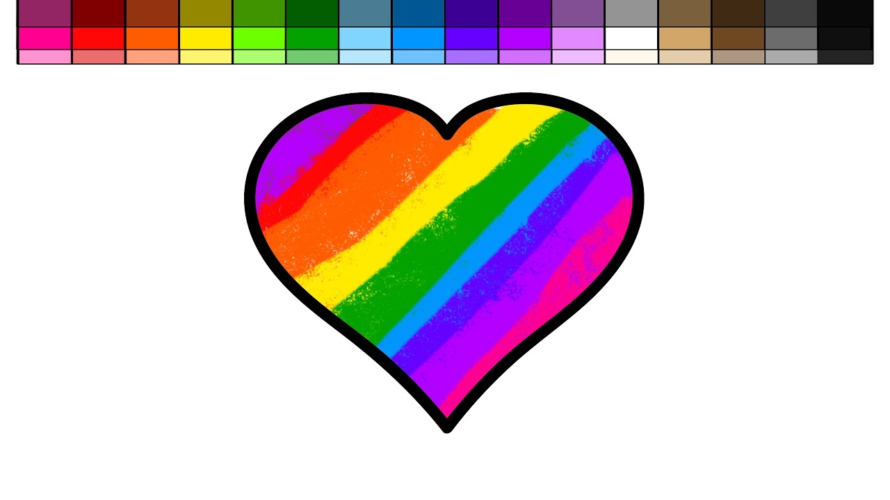 Heart and rainbow coloring pages - Learn Colors For Kids And Color Rainbow Heart Coloring Page