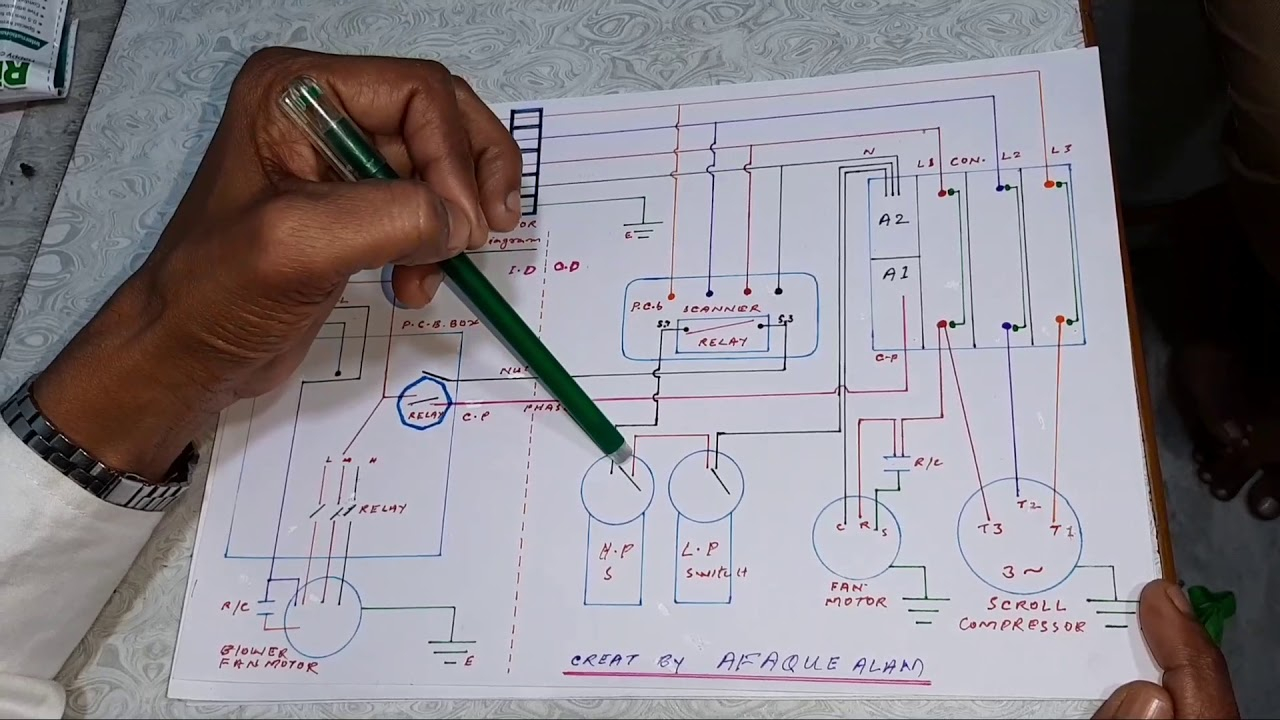 Three phase air conditioner wiring diagram of lp,hp ...