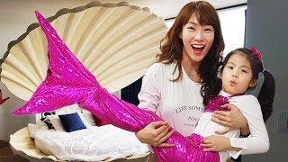 인어공주가 되고 싶어요?!! 서은이의 인어공주 조개 침대 테마 펜션 스티커 물고기 Princess Little Mermaid and Shell Bed for Kids