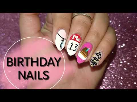 cute and easy birthday nails | indian products| 2018
