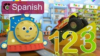 Learn Numbers SPANISH   Aprende Los Números Con Max El Tren Y Bill El Camión Monstruo