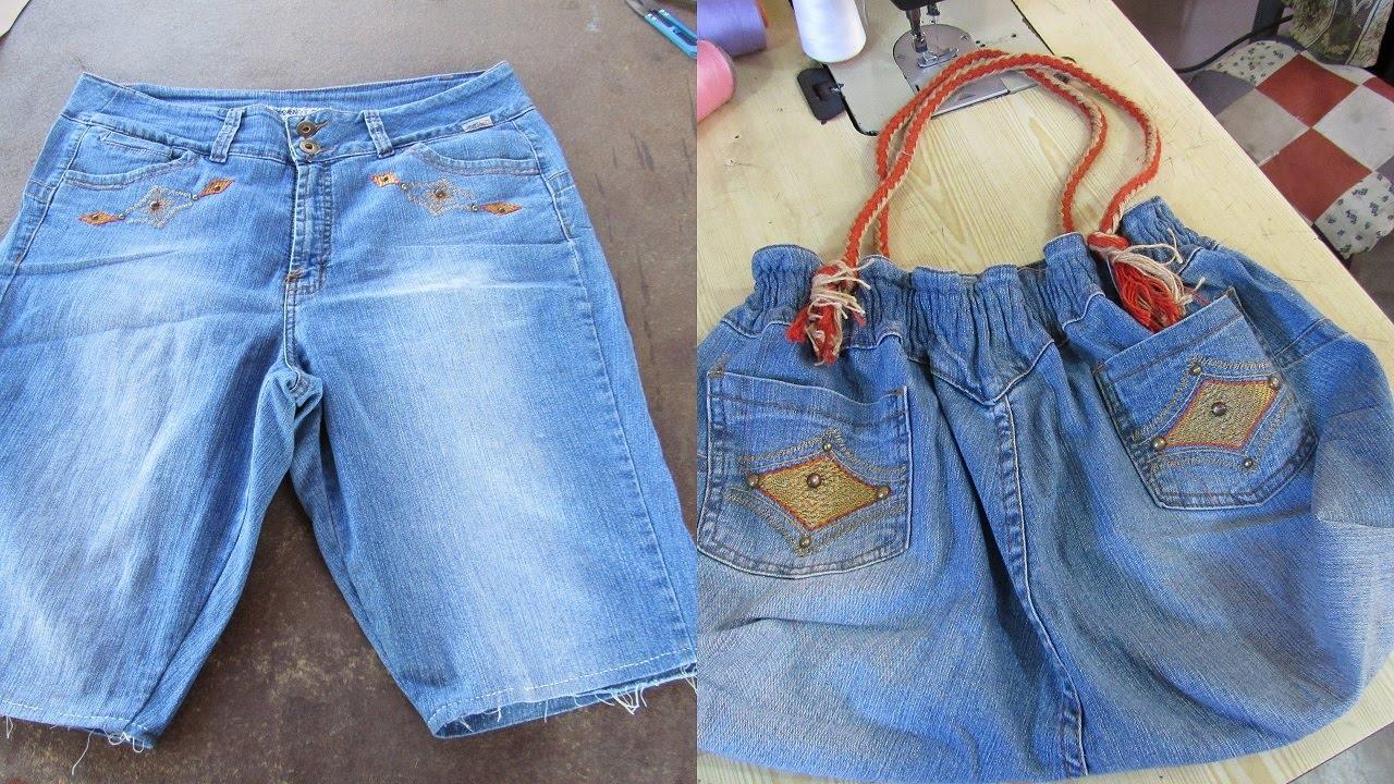 f1ce411e6 Reciclaje de Jeans  BOLSO grande con jeans reciclados - YouTube