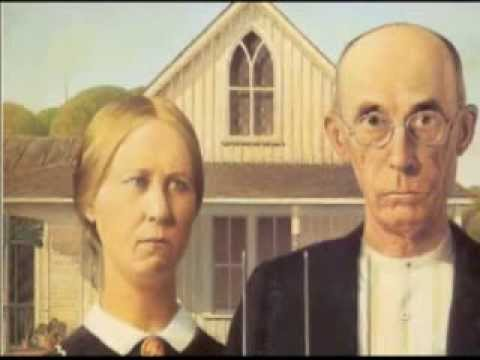 """Painting 1. Grant Wood """"American Gothic"""""""