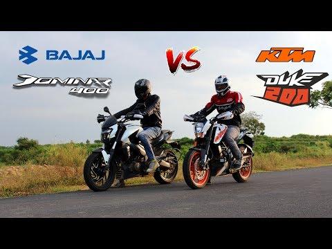 Bajaj Dominar 400 vs Ktm Duke 200| Drag Race and Exhaust note comparison.