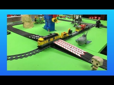 LEGO Train & Carrera Go Slot Car Train Jump Challenge & Crossing Stunts