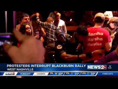 WKRN: Protesters at Marsha Blackburn and Sen. Graham GOTV Rally