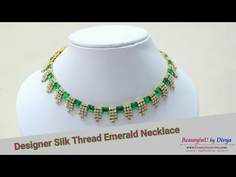 DIY//Easy and simple Designer Silk Thread Emerald Necklace Making at Home // Silk Thread Jewelry