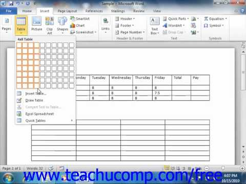 Word 2010 Tutorial Creating Tables Microsoft Training Lesson 162 - mickrosoft word