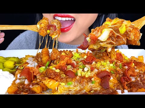 ASMR CHILI CHEESE FRIES LOADED With EXTRA CHEESE & BACON | ASMR Phan