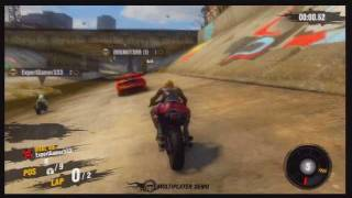 Motor Storm Apocalypse Multiplayer Demo Motorcycle gameplay Off the Rails MAINLINE RACE