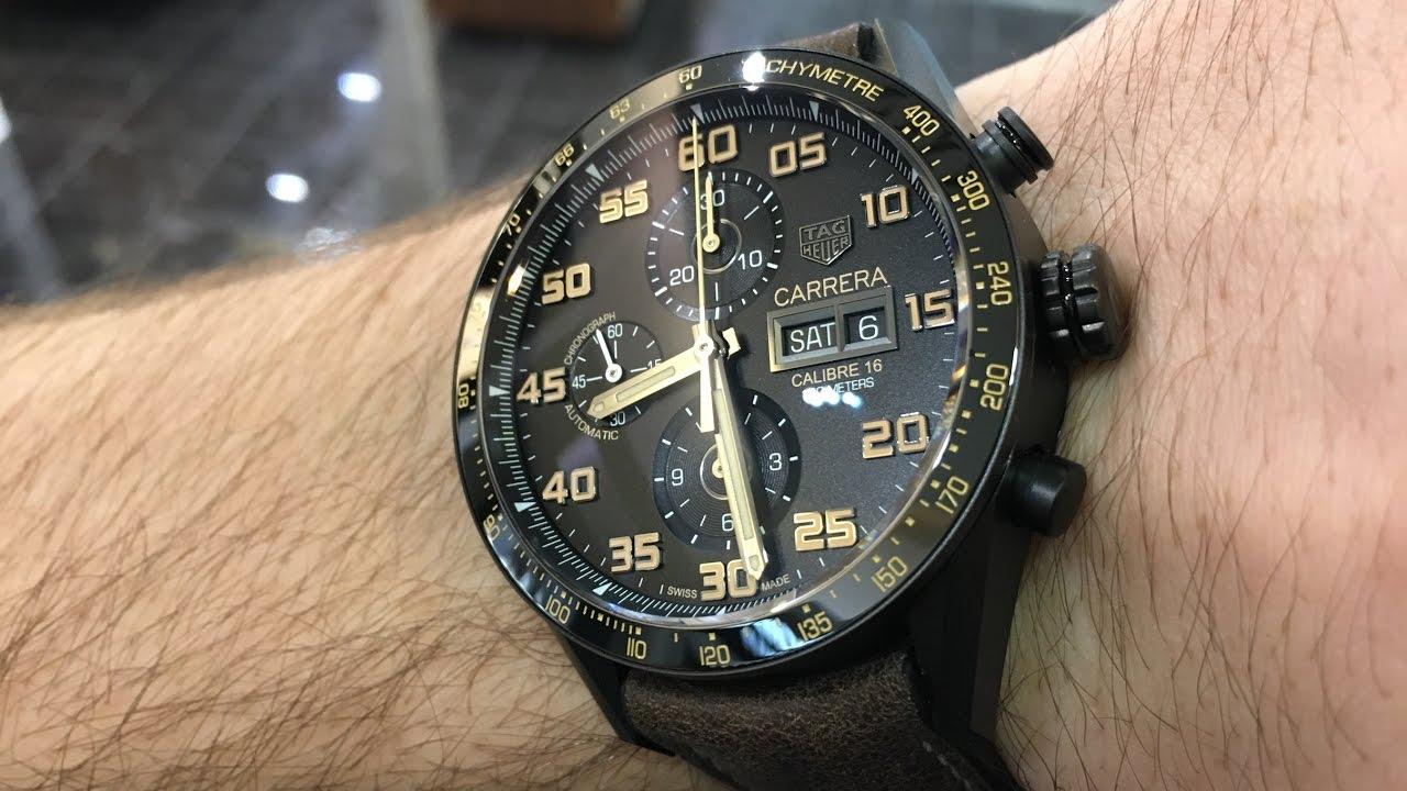 3246529b8cc0 TAG Heuer Carrera Calibre 16 Day-Date Chronograph Black Titanium  CV2A84.FC6394