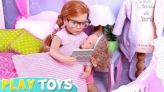 My Petitcollin Baby Doll Doesn't Want to Sleep! Funny Video for Kids! 🎀