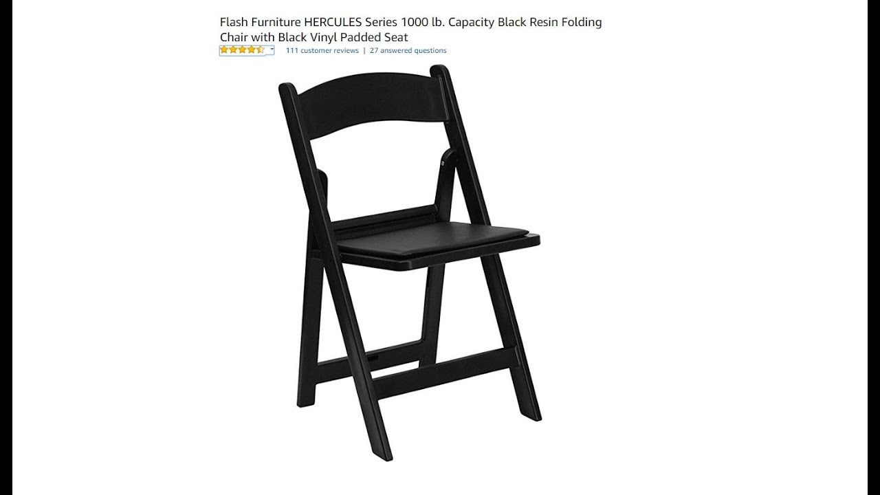 Charmant Flash Furniture HERCULES Series 1000 Lb. Black Resin Folding Chair Unboxing  And Review