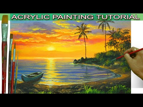 Acrylic Landscape Painting Tutorial Tropical Sunset with Boat on Lake and Palm Trees