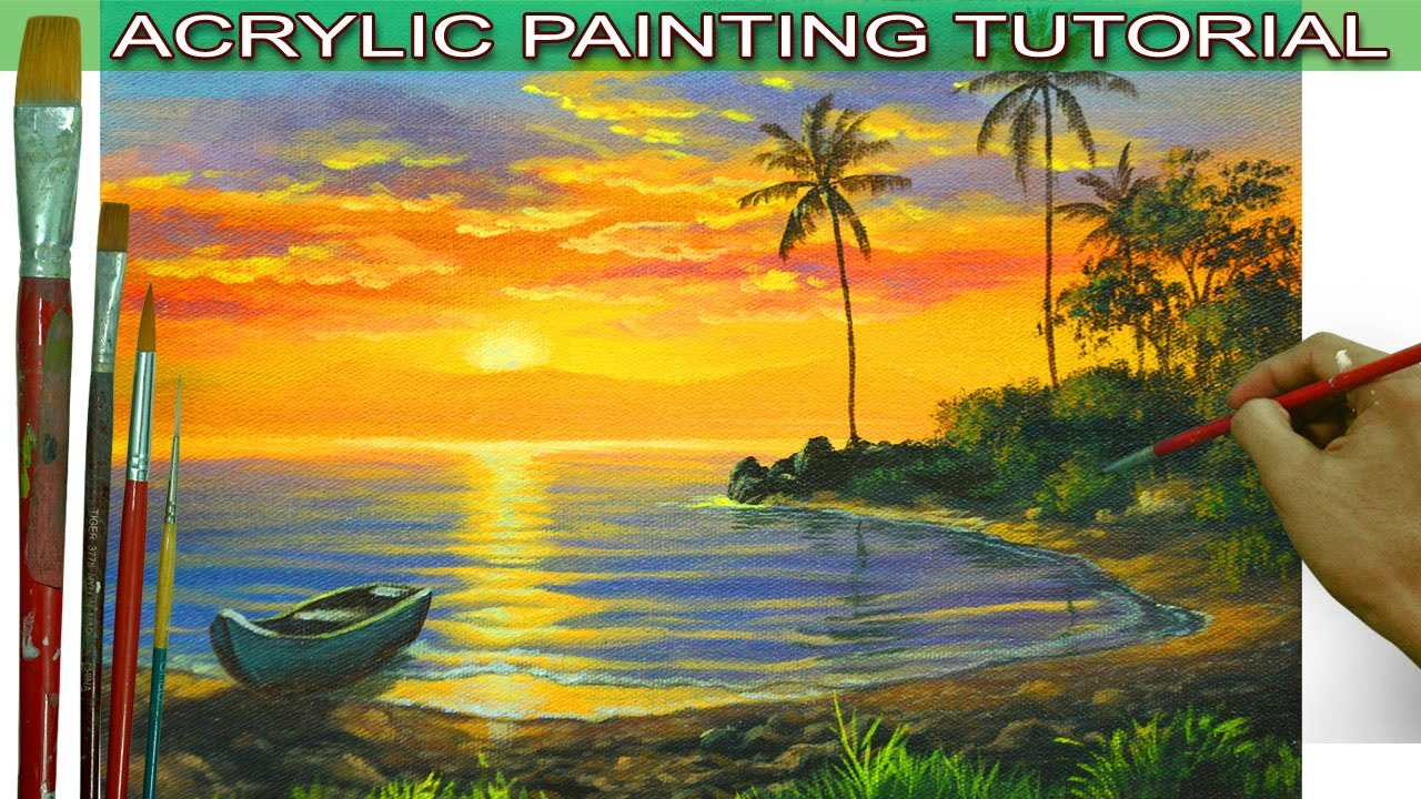Acrylic Landscape Painting Tutorial Tropical Sunset with ...