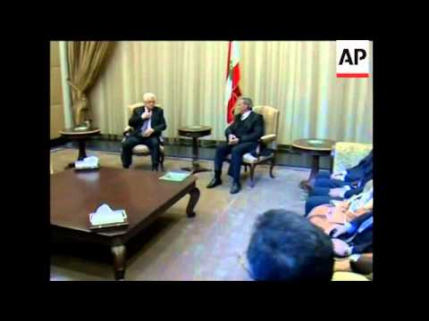 Palestinian president visits Beirut meets with Suleiman