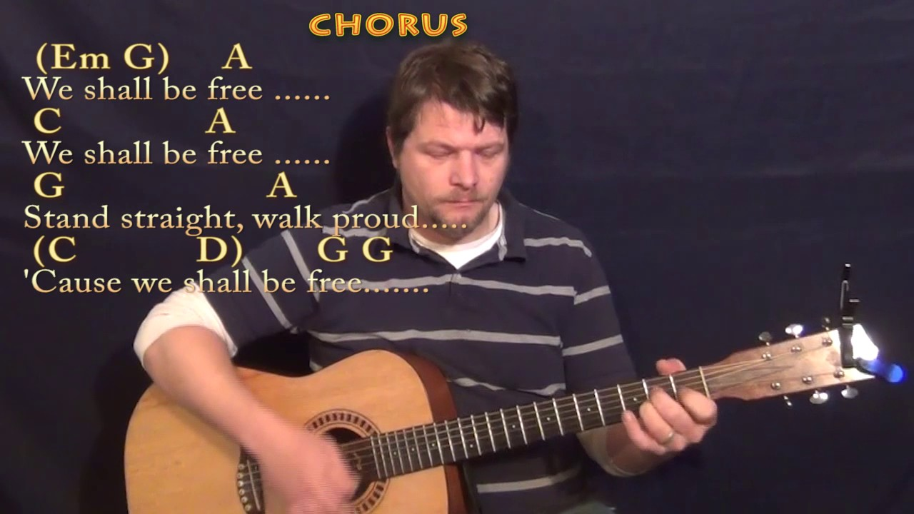 We Shall Be Free Garth Brooks Guitar Lesson Chord Chart With