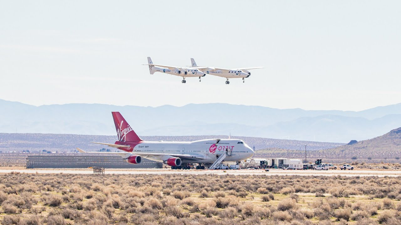 Virgin Galactic White Knight Two Carrier Aircraft Lands at Mojave Air & Spaceport + Tower Audio