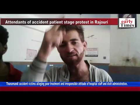 Attendants of accident patient stage protest in Rajouri