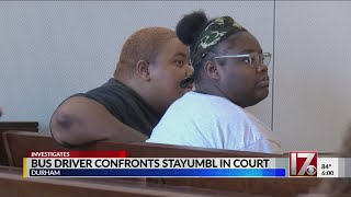 School bus driver confronted by 'STAYUMBL' driver testifies