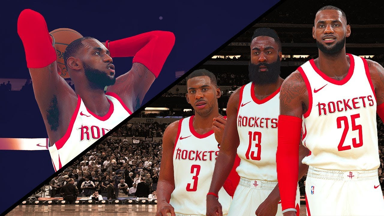 How Would It Look: LeBron James & James Harden Rockets vs Warriors - NBA 2K18 Gameplay