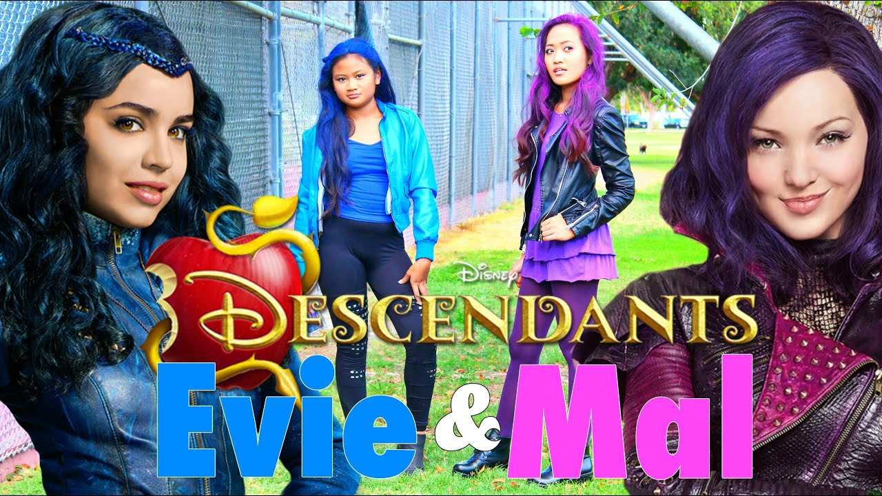 diy halloween costumes disneys descendants mal evie makeup hair and costume 2015 youtube