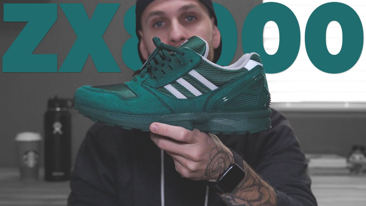 pegamento pala Tranquilizar  ADIDAS ZX 8000 COLLEGIATE GREEN REVIEW & ON FEET - YouTube