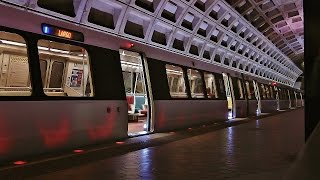 WMATA Metro Trains Through Federal Triangle Station in Washington D.C.