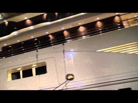 "[4k] Massive Superyacht ""Dilbar"" Arrived In Antibes Today, Nightshot"