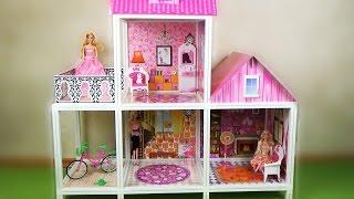 Домик для барби. Двухэтажный с куклами / House for Barbie. Two-storey with dolls(Дом для Барби с куклами 2-х этажный 66883. Распаковка и обзор. Игра с куклами. Игрушка предоставлена интернет-м..., 2014-12-14T00:55:48.000Z)