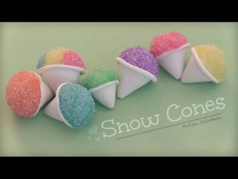 SNOW CONE - Polymer Clay Charm - How To   SoCraftastic