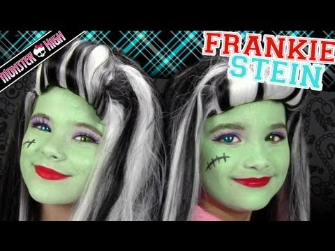 Frankie Stein Monster High Costume Makeup Tutorial for Halloween | Kittiesmama & Bratayley