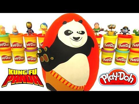 kung fu panda po sürpriz yumurta oyun hamuru  kung fu panda 3 oyuncakları emoji transformers
