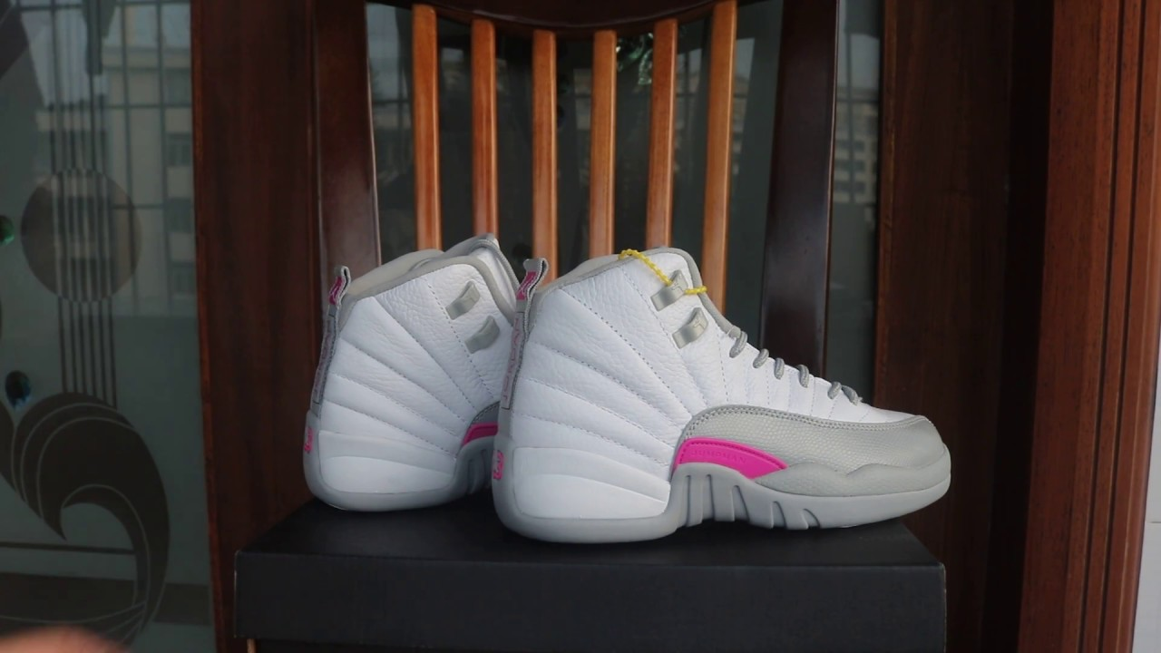 best loved 07d41 2ab9c Authentic Air Jordan 12 GS Vivid Pink  Wolf Grey - Cool Grey - YouTube