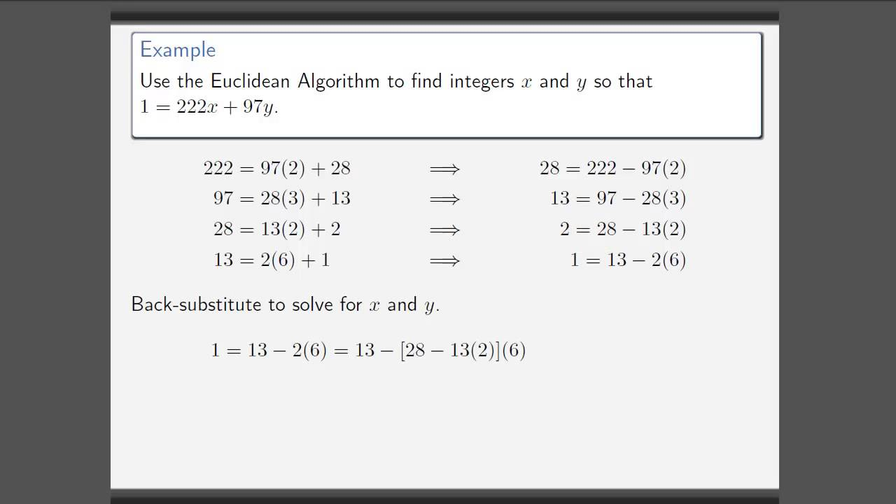 euclidean algorithm Euclidean algorithm the greatest common divisor of integers a and b, denoted by gcd (a,b), is the largest integer that divides (without remainder) both a and b so, for example.