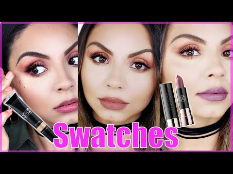 new-abh-liquid-glow-highlighter-and-matte-lipstick-swatches---peach-fizz,-latte,-&-dusty-mauve