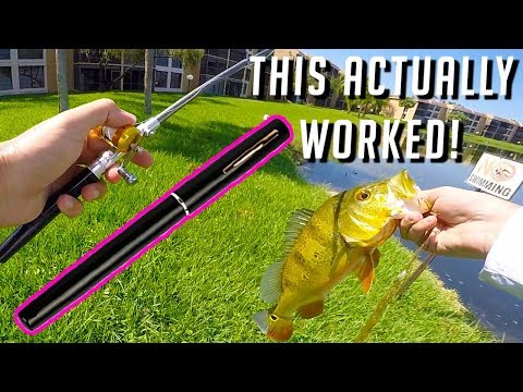 Micro Pen Fishing Rod Challenge – Smallest Rod On Amazon ~ Old Lady Called The Cops